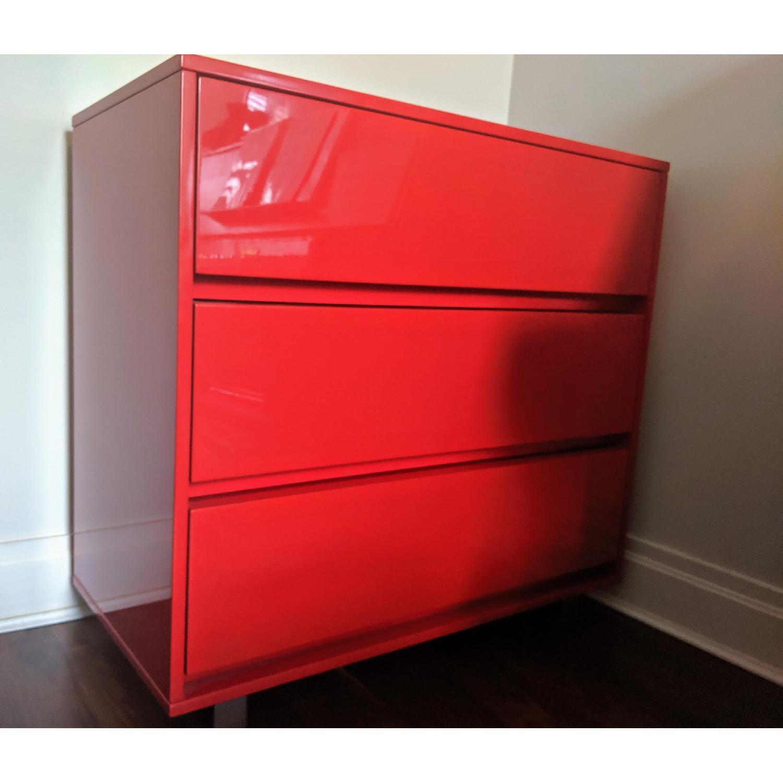 CB2 Red 3 Drawer Dresser - image-2