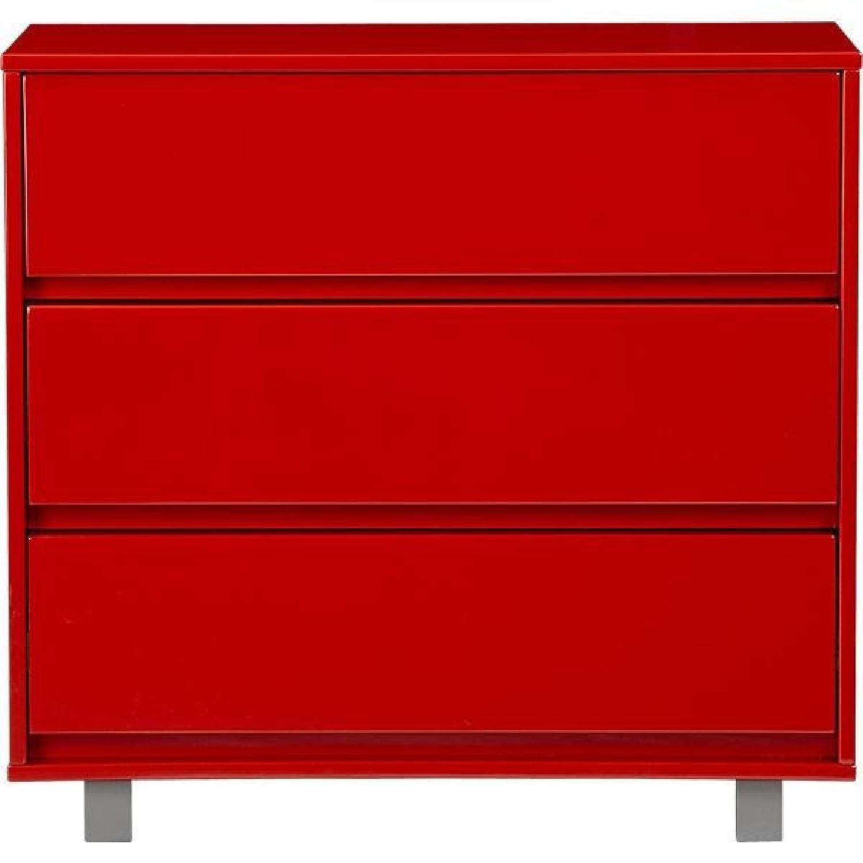CB2 Red 3 Drawer Dresser - image-0