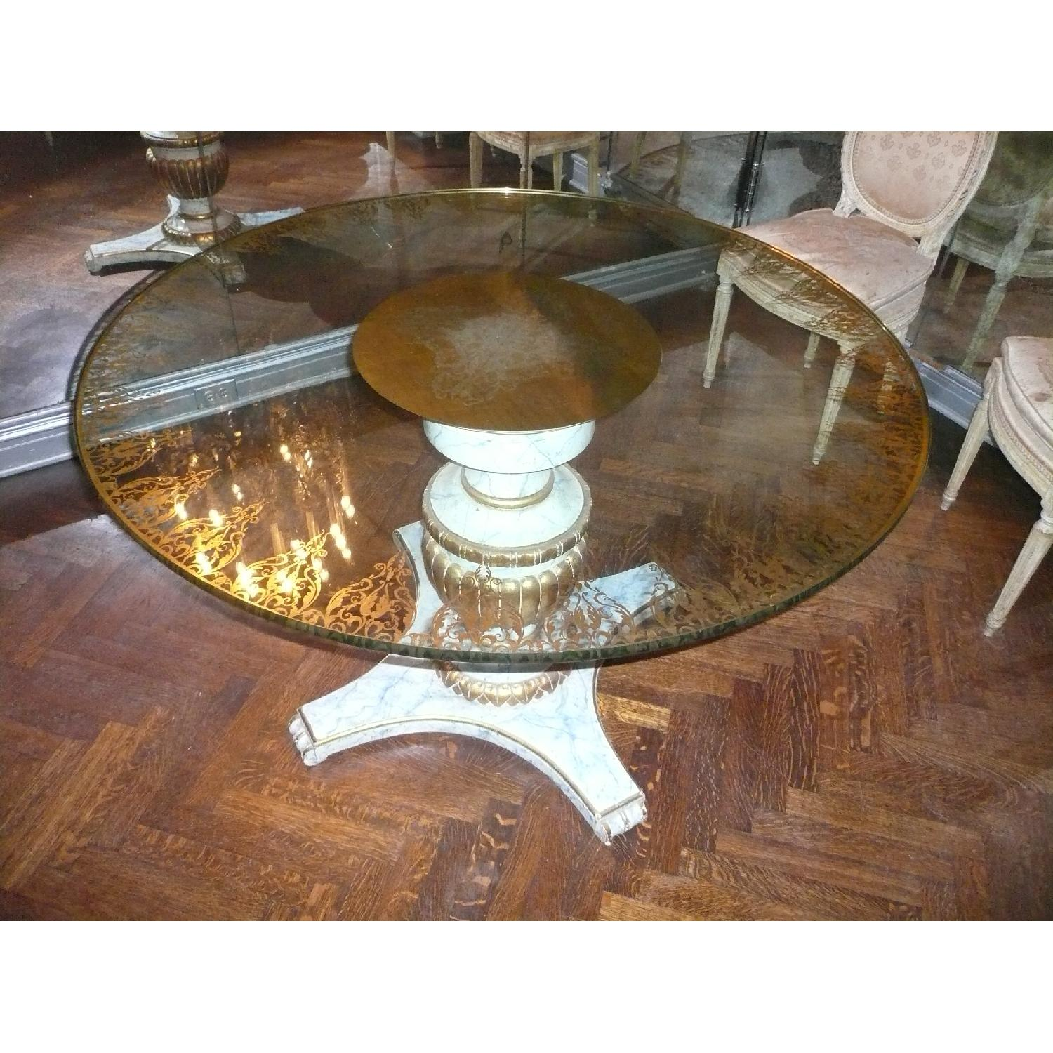 Antique Glass & Wood Dining Table - image-0