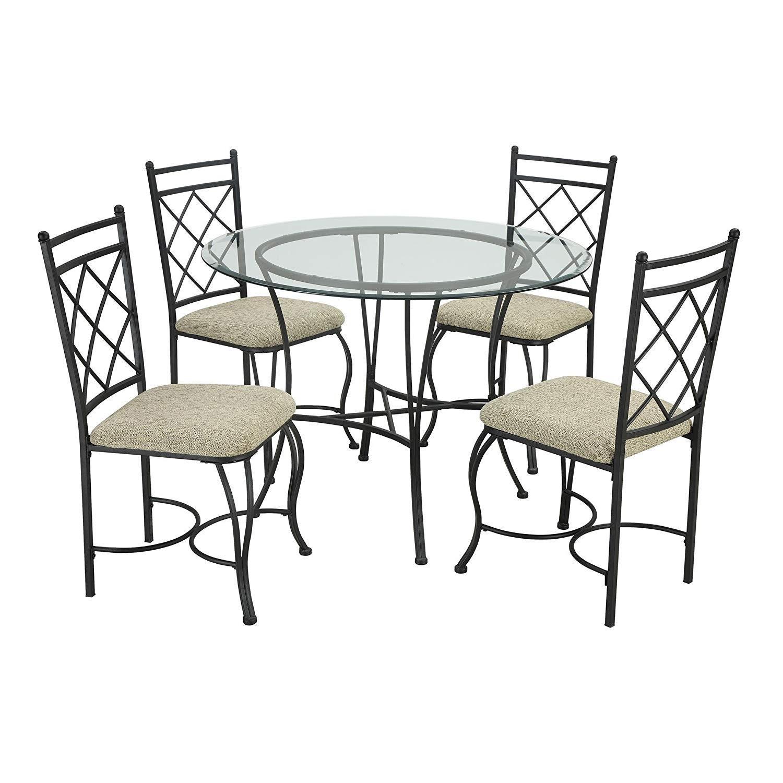 Mainstay 5-Piece Glass Top Metal Dining Set