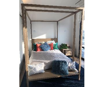 CB2 Wood Queen Size Canopy Bed