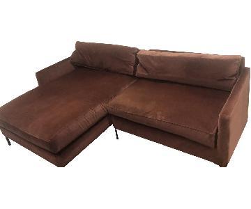 ABC Carpet & Home Cobble Hill Velvet 2 Piece Sectional Sofa