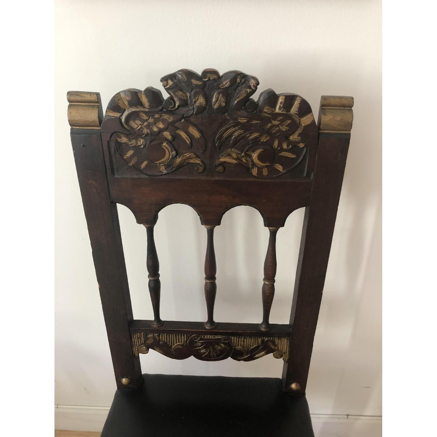 Antique Claw Foot Chair w/ Leather Seat - image-1