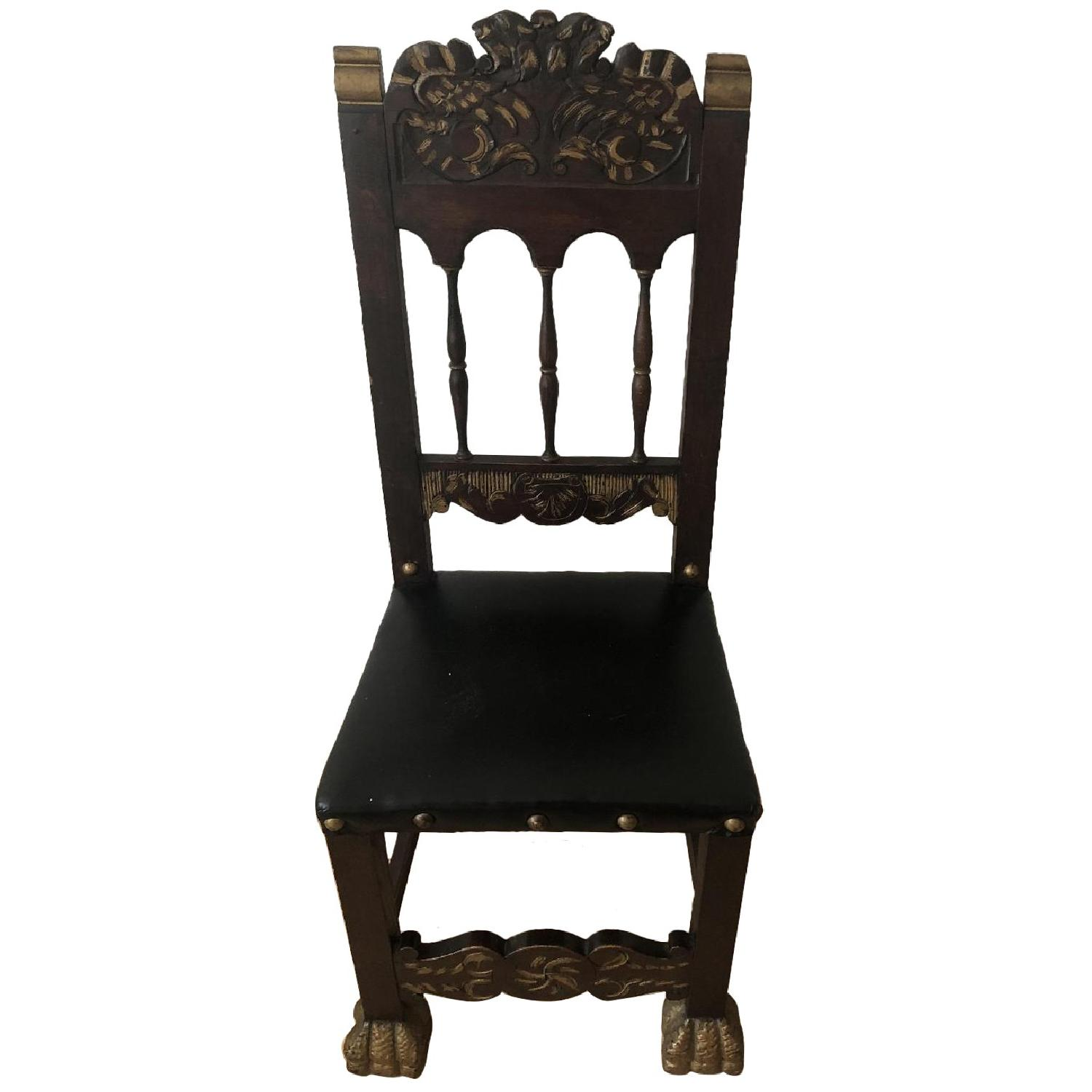 Antique Claw Foot Chair w/ Leather Seat - image-0