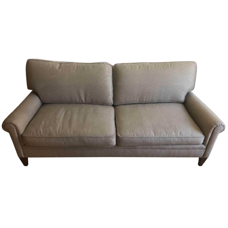 Lee Jofa Tan Fabric Sofa w/ Wood Legs - image-0