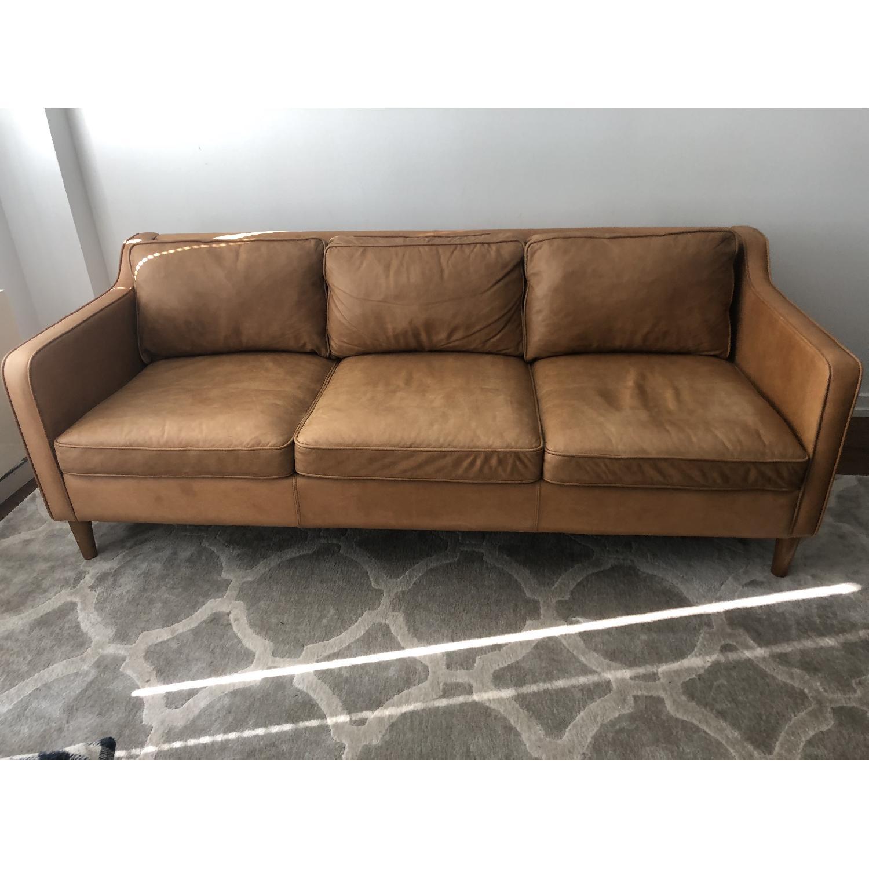 West Elm Hamilton Leather Sofa in Burnt Sienna - image-1