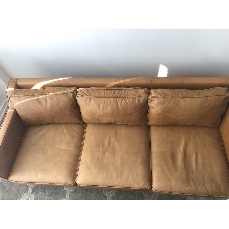 West Elm Hamilton Leather Sofa in Burnt Sienna - image-2