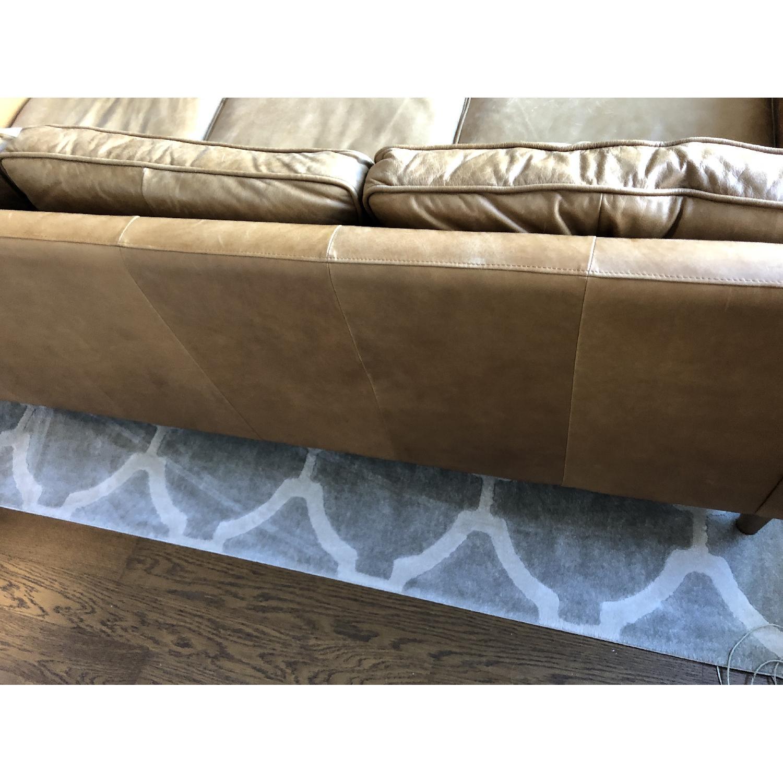 West Elm Hamilton Leather Sofa in Burnt Sienna - image-5