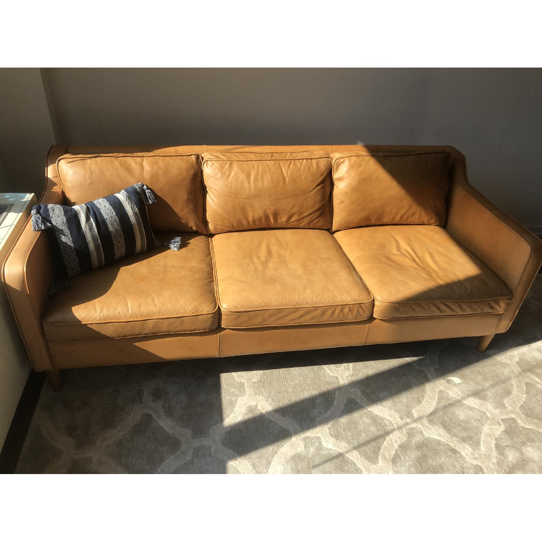 West Elm Hamilton Leather Sofa in Burnt Sienna - image-10