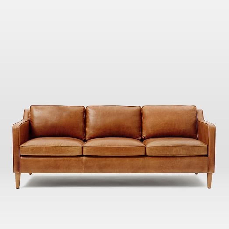 West Elm Hamilton Leather Sofa in Burnt Sienna - image-0