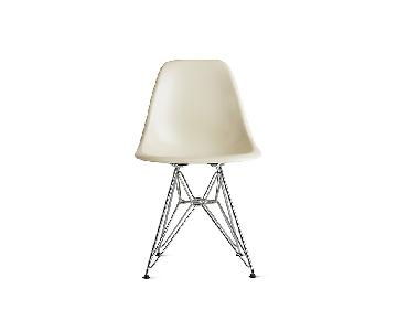 Vintage Herman Miller Eames Eiffel White Fiberglass Chairs