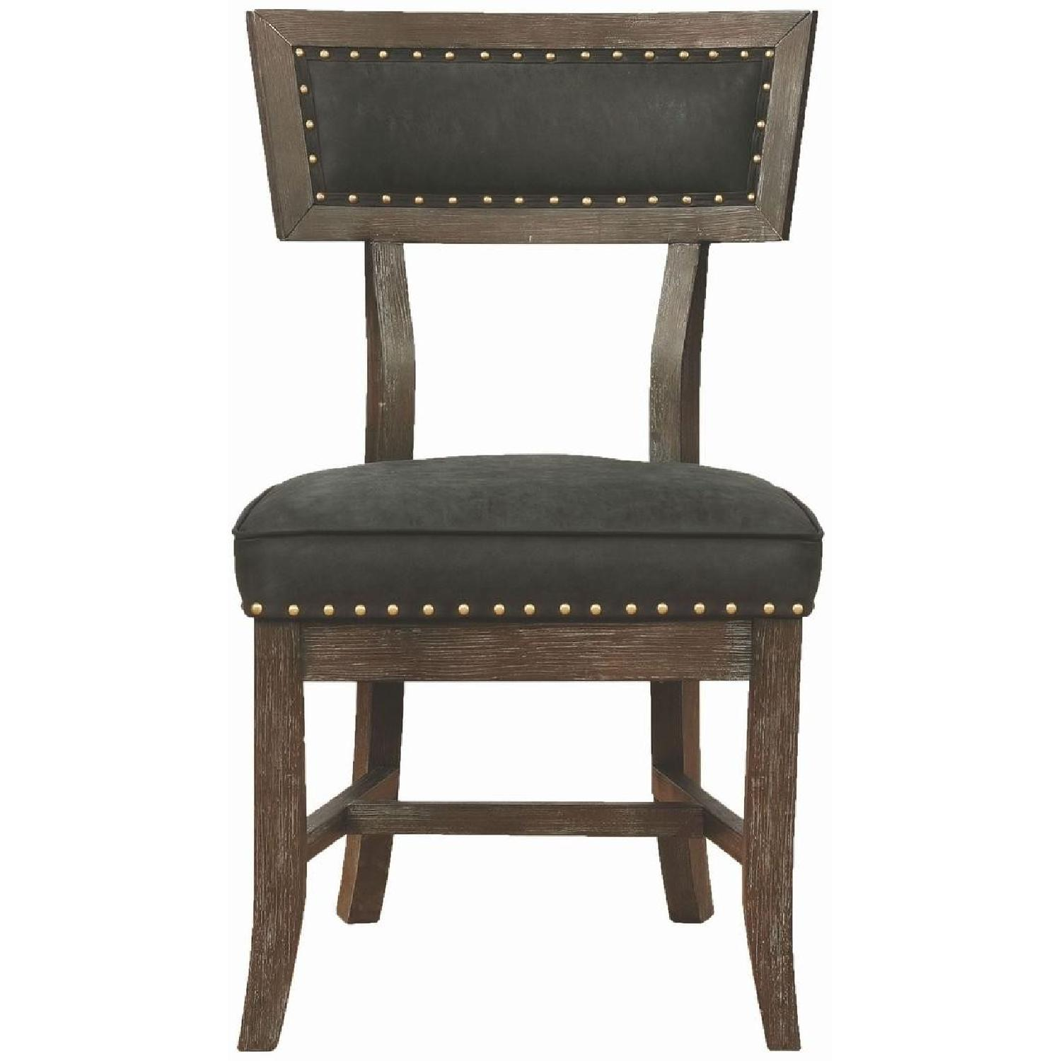 Rustic Dining Chair w/ Black Cushion & Nailhead Accent - image-0