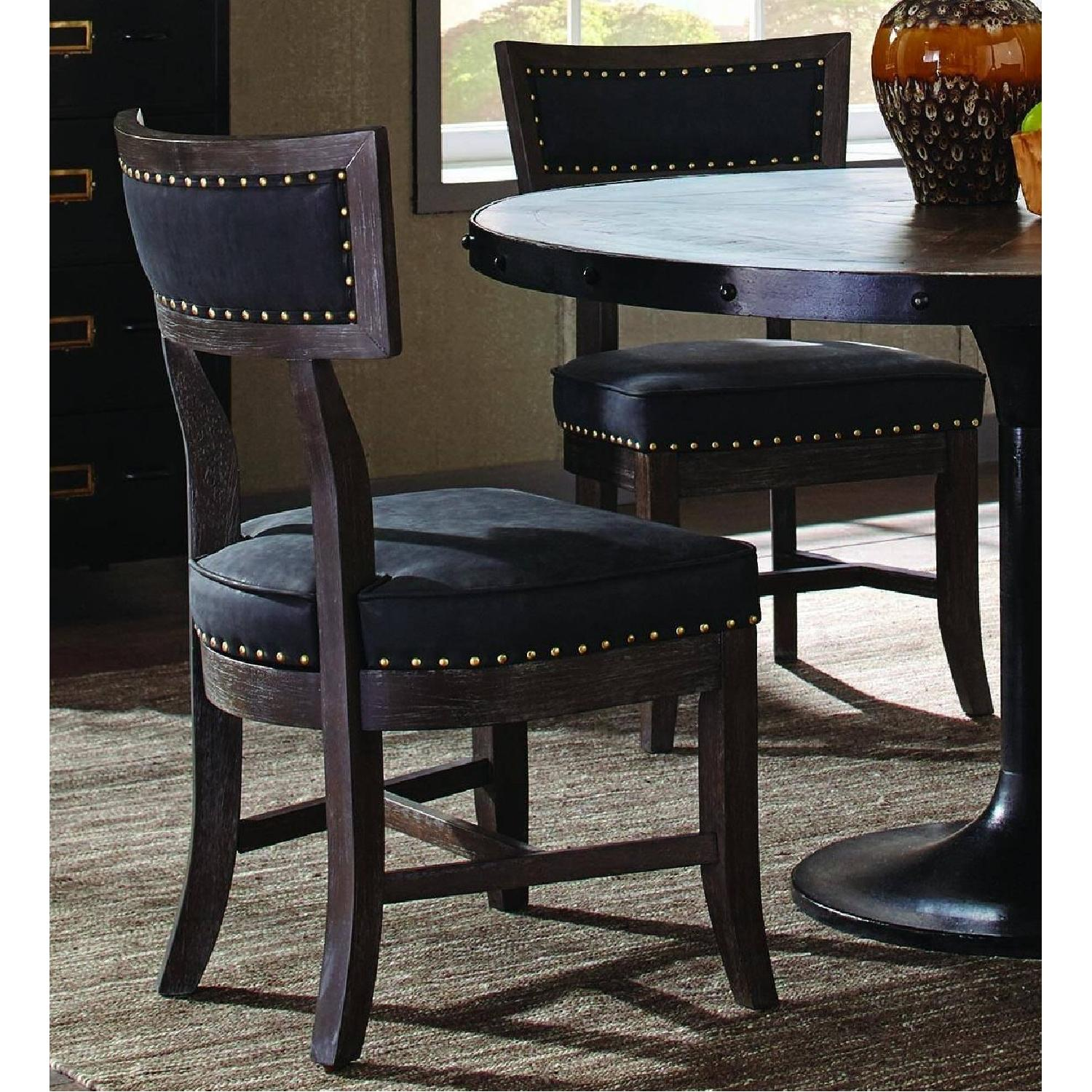 Rustic Dining Chair w/ Black Cushion & Nailhead Accent - image-1