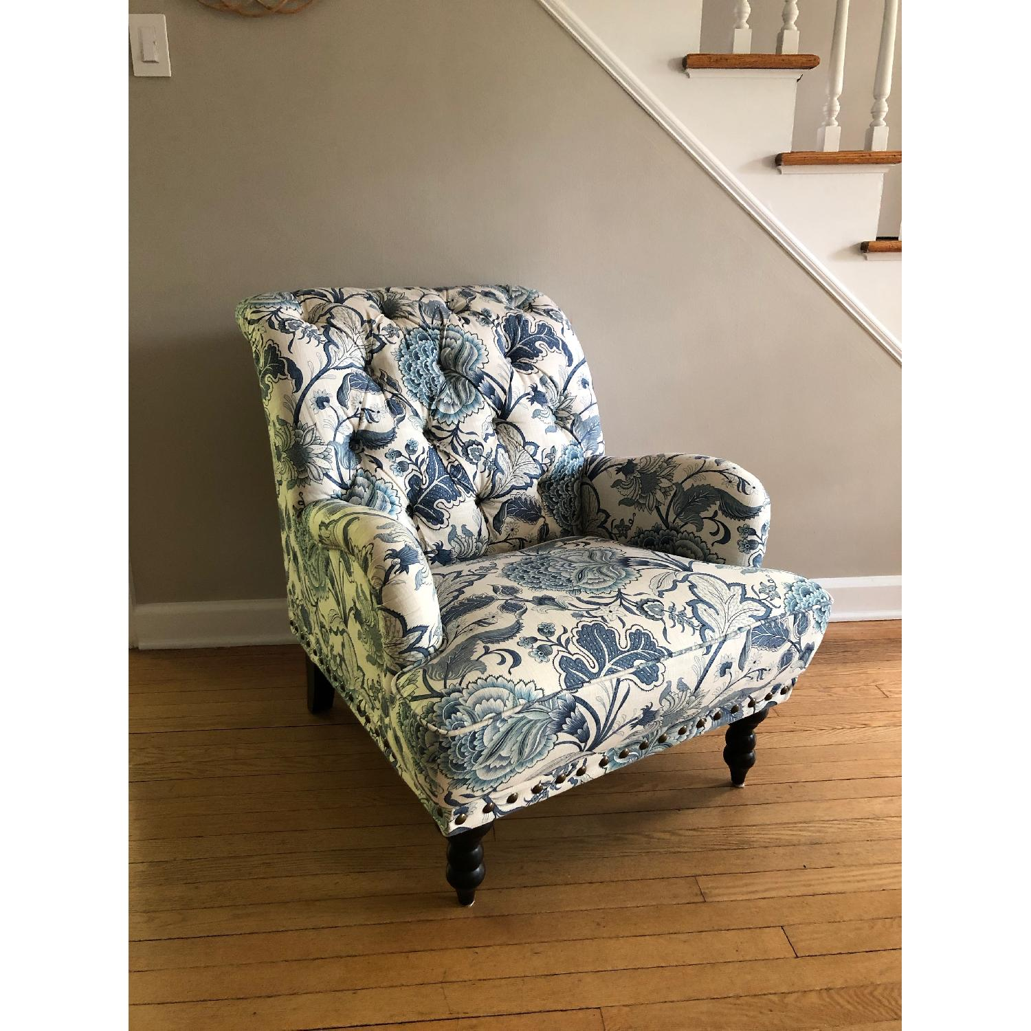 Pier 1 Chas Indigo Blue Floral Chairs - image-1