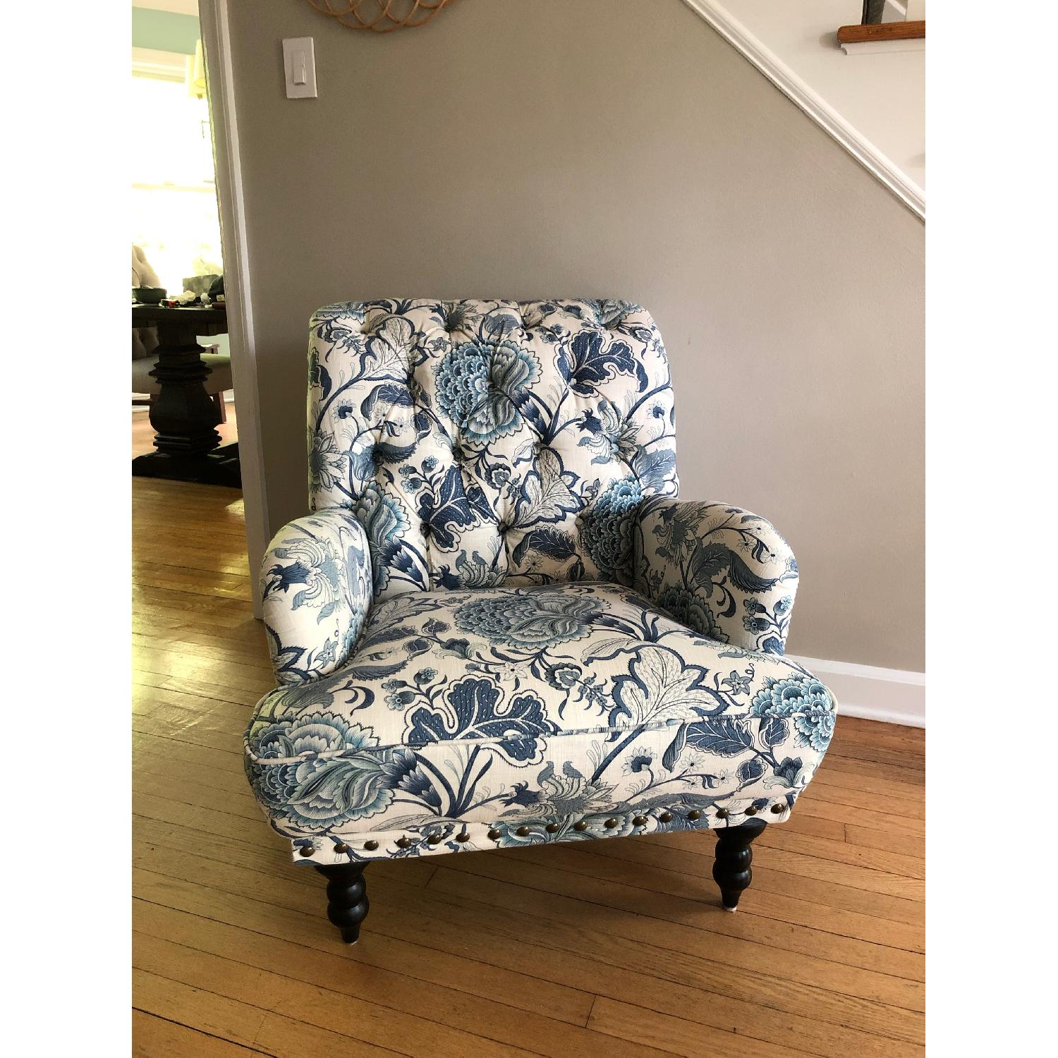Pier 1 Chas Indigo Blue Floral Chairs - image-2