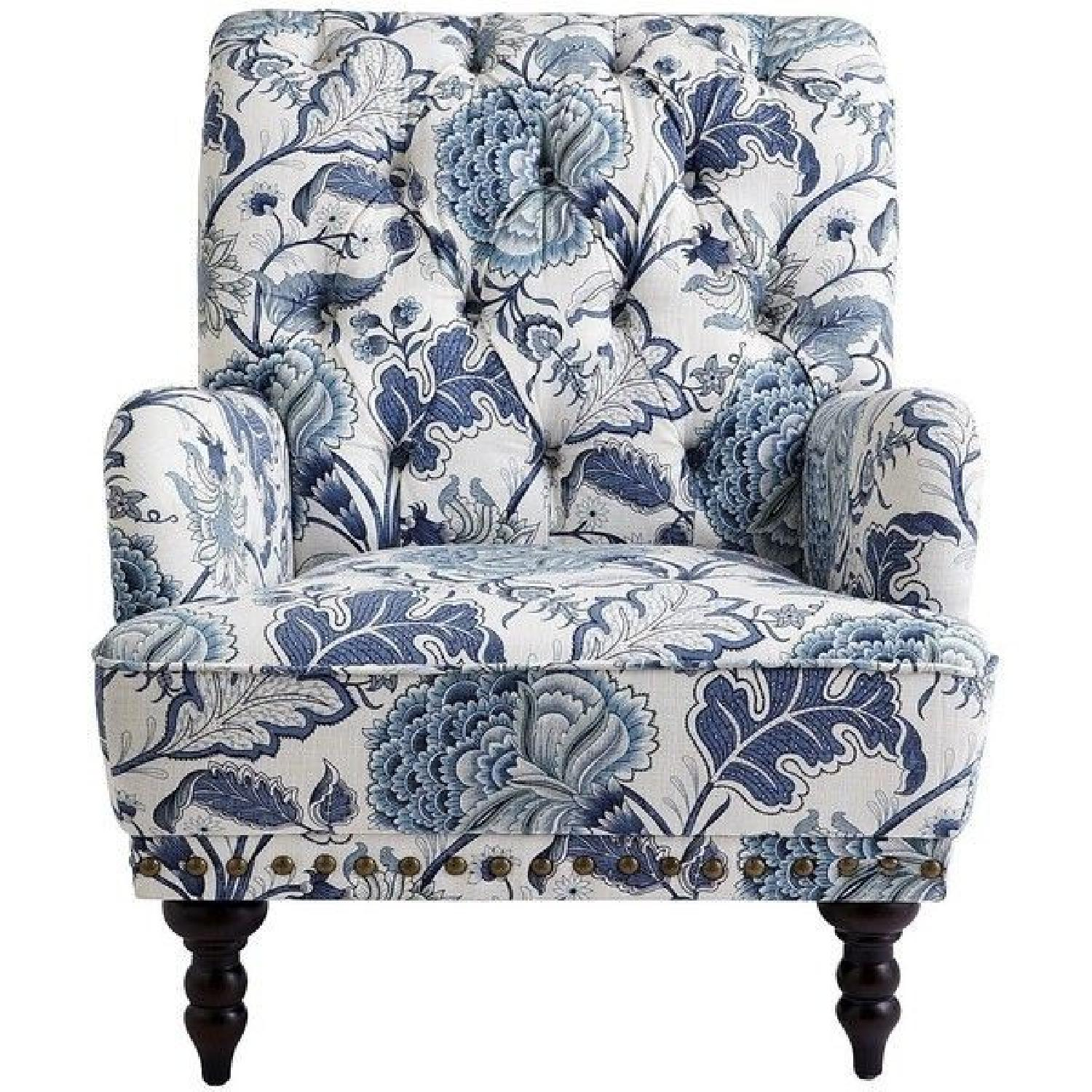 Pier 1 Chas Indigo Blue Floral Chairs - image-0