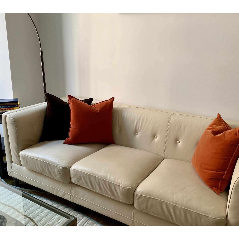 Italian cream Leather Sofa - image-0