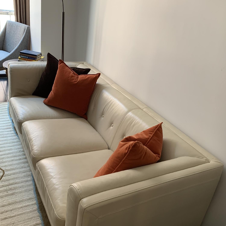 Italian cream Leather Sofa - image-2