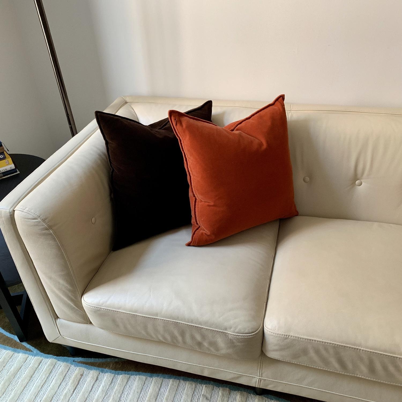 Italian cream Leather Sofa - image-3