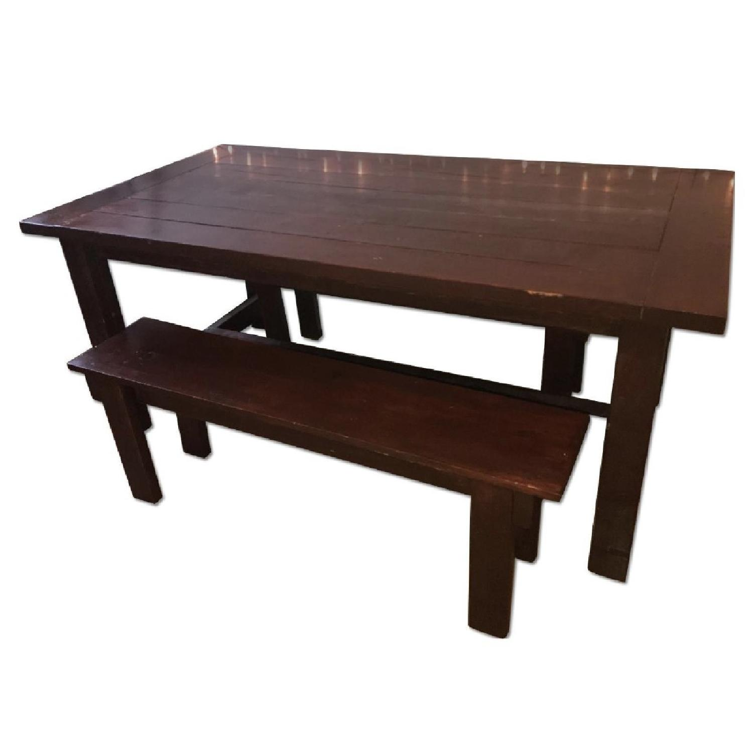 Custom Wood Farmhouse Rustic Dining Table w/ 2 Benches - image-0
