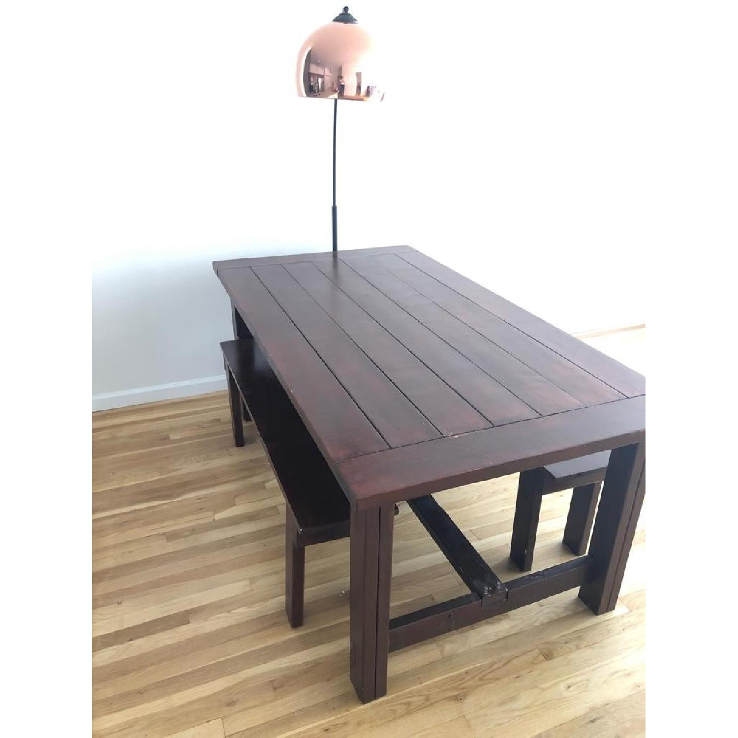 Custom Wood Farmhouse Rustic Dining Table w/ 2 Benches - image-2