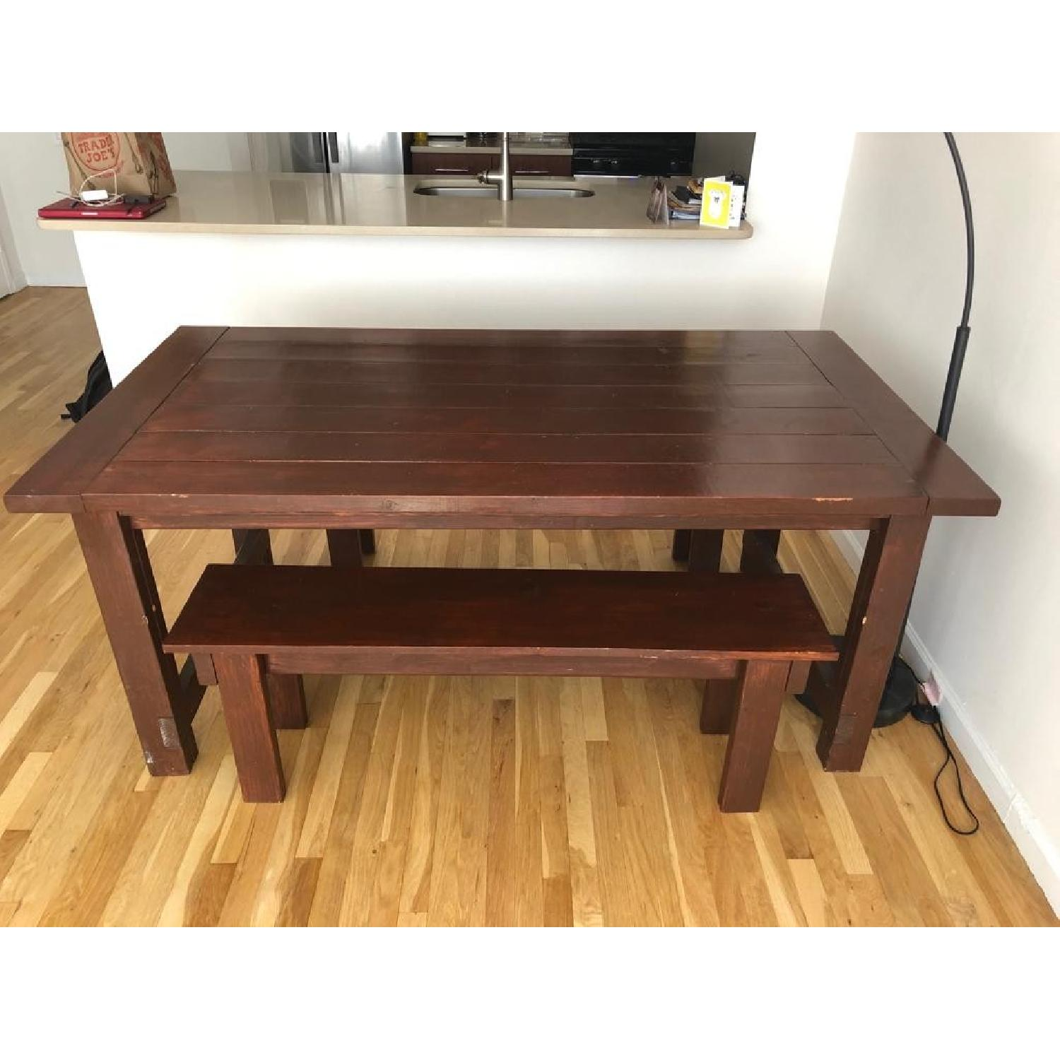 Custom Wood Farmhouse Rustic Dining Table w/ 2 Benches - image-3