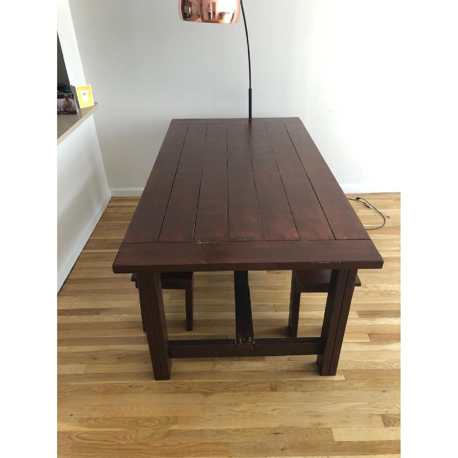 Custom Wood Farmhouse Rustic Dining Table w/ 2 Benches - image-4