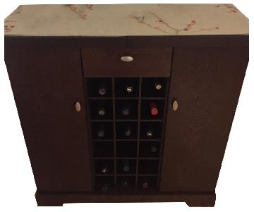 Pottery Barn Dark Brown Wood Expandable Bar w/ Wine Rack