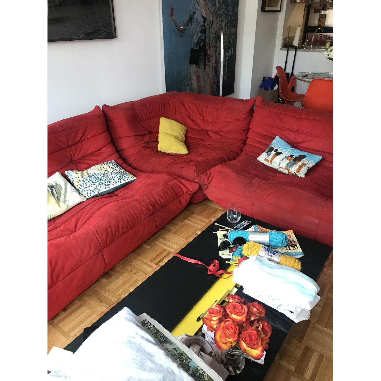 Ligne Roset Togo 3-Piece Red Sectional Sofa - image-1