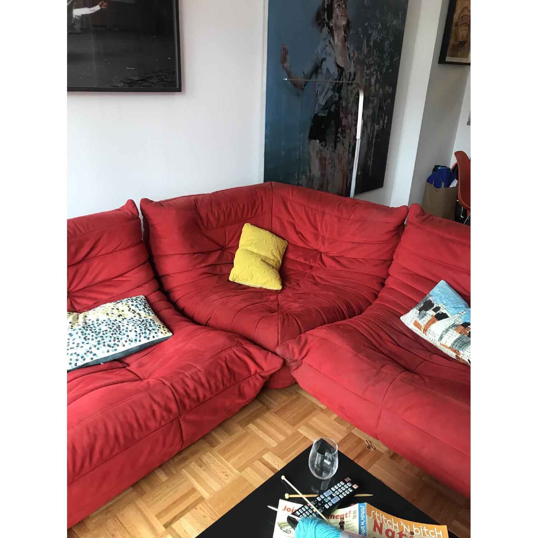 Ligne Roset Togo 3-Piece Red Sectional Sofa - image-3