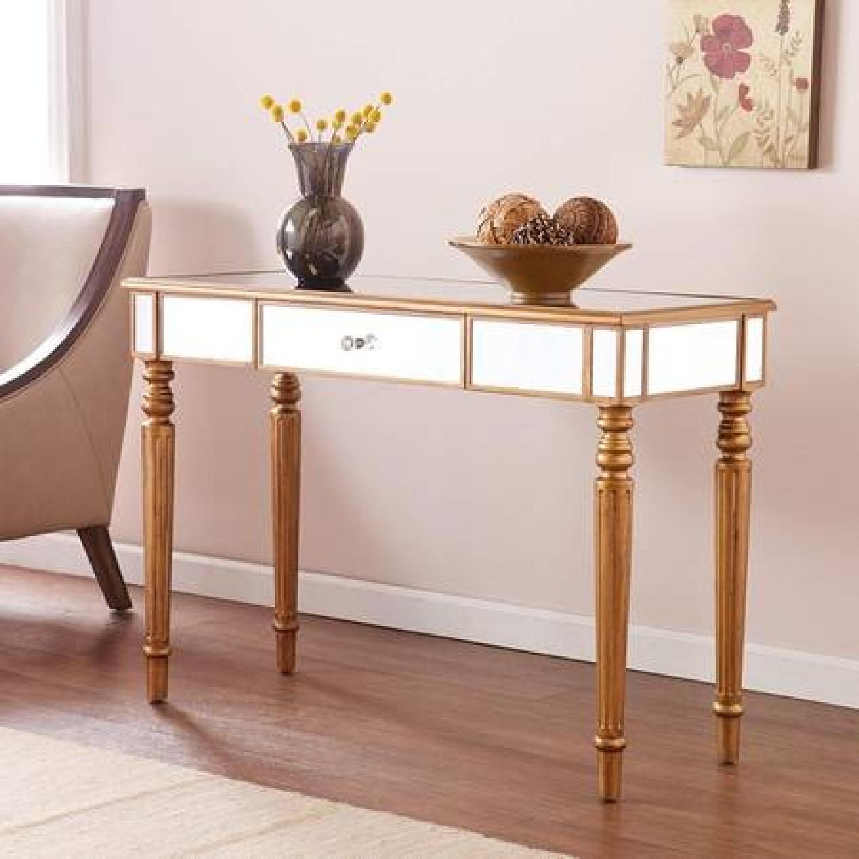 Southern Enterprises Mirrored Media Console Table/Desk - image-2