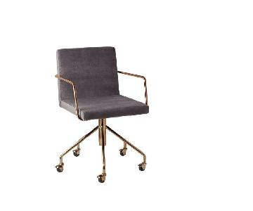 CB2 Rouka Grey Velvet Dining Chair