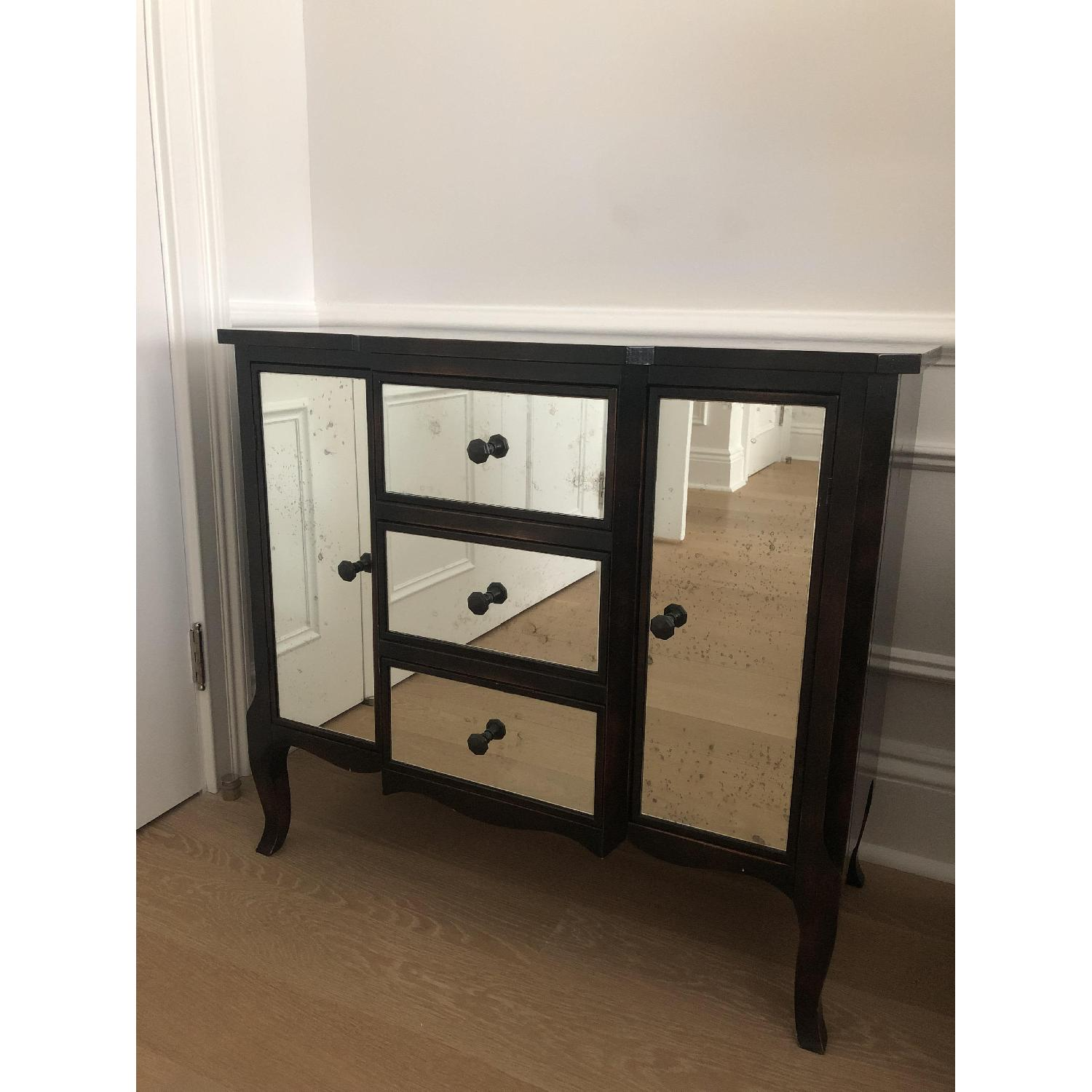 Crate & Barrel Mimi Night Tables w/ Antiqued Mirror Front - image-0