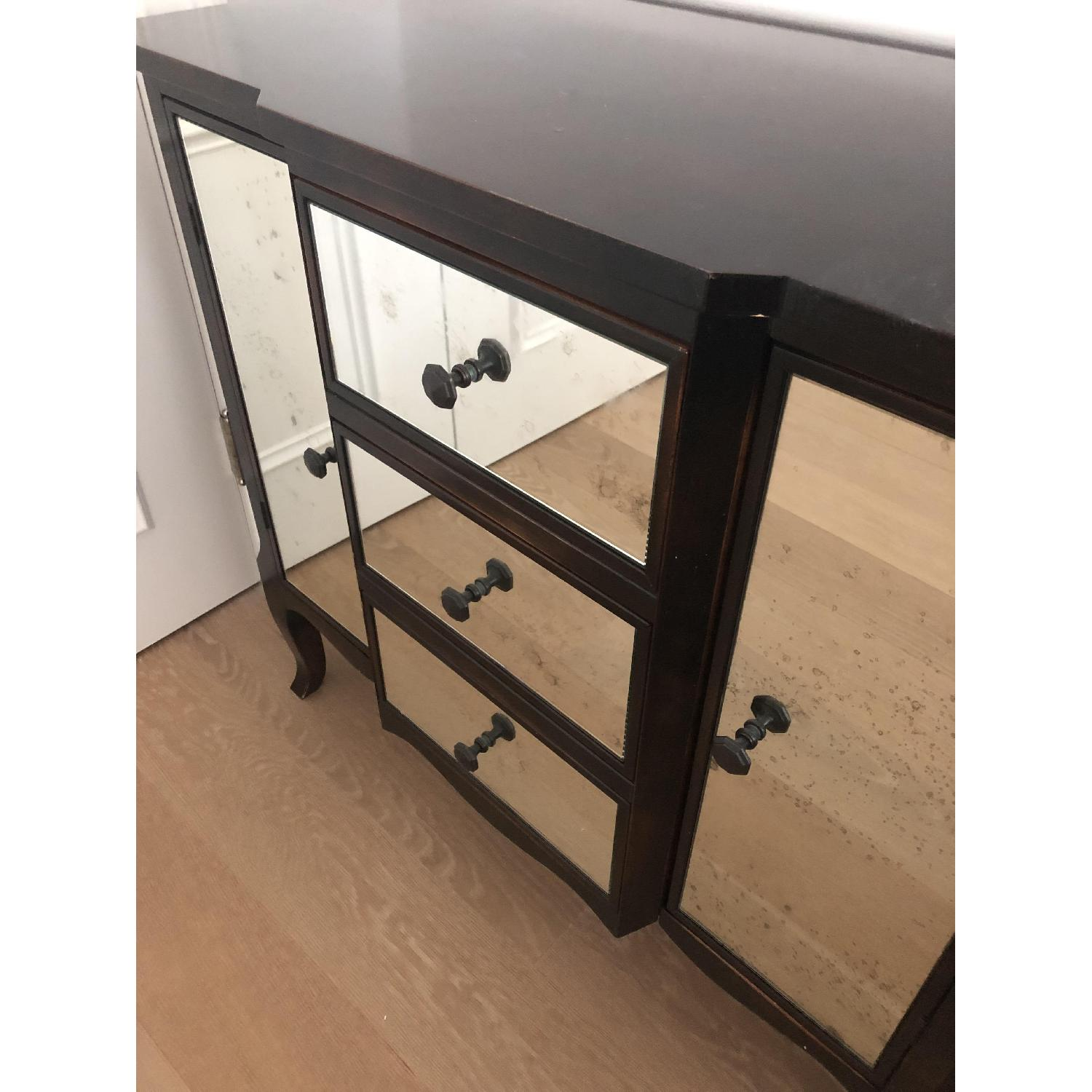 Crate & Barrel Mimi Night Tables w/ Antiqued Mirror Front - image-1