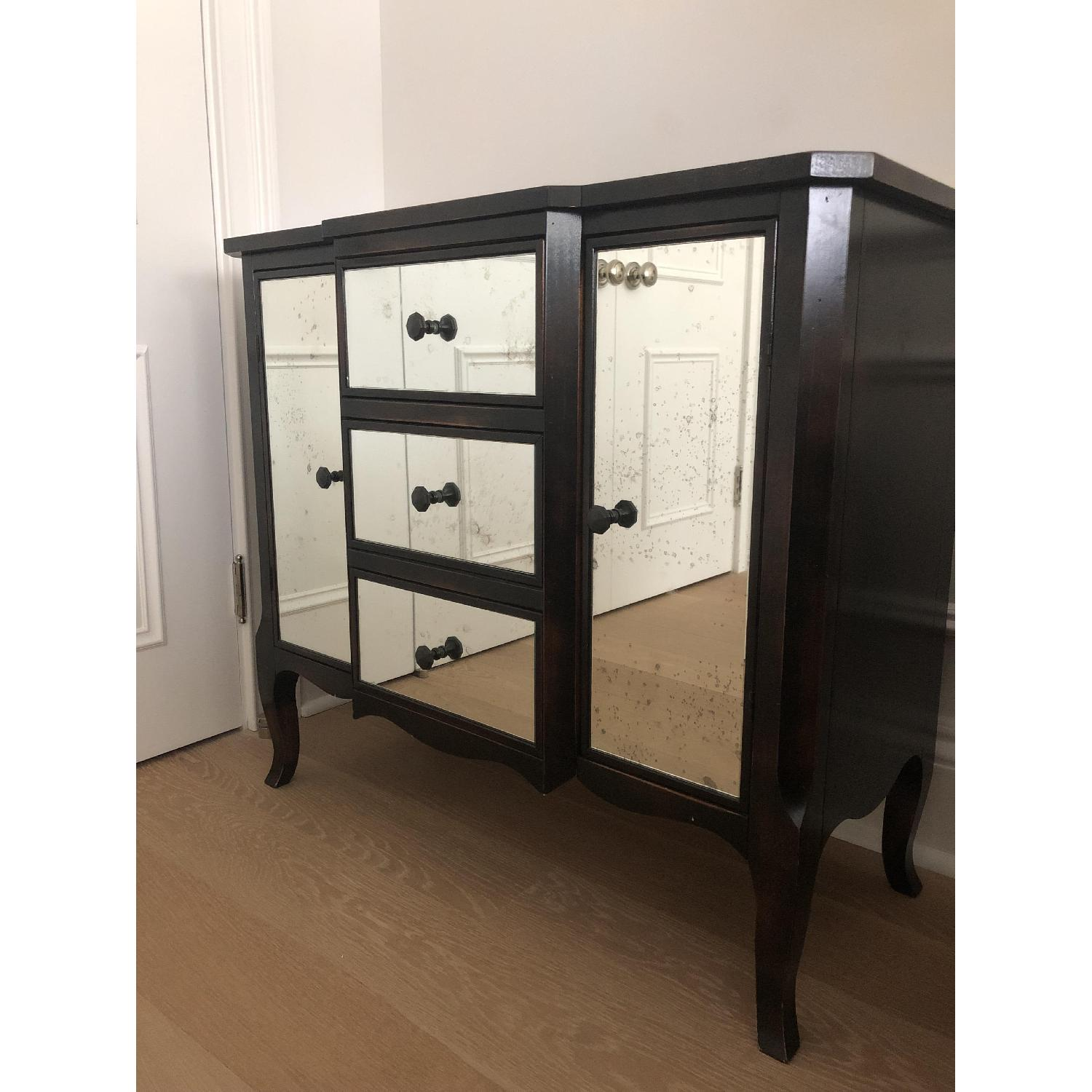 Crate & Barrel Mimi Night Tables w/ Antiqued Mirror Front - image-2
