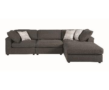 Modern Style Modular Sectional in Charcoal Fabric