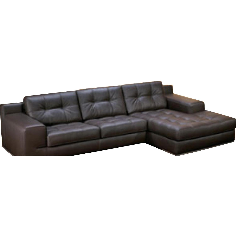 Giormani Italy Black Leather Sectional Sofa - AptDeco