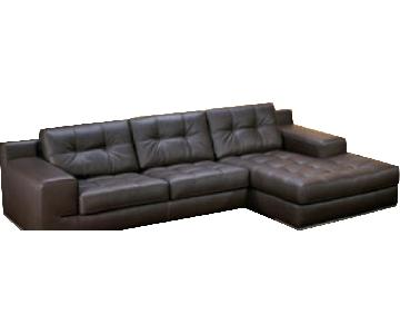 Giormani Italy Black Leather Sectional Sofa