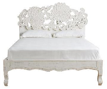 Anthropologie White Bed Frame