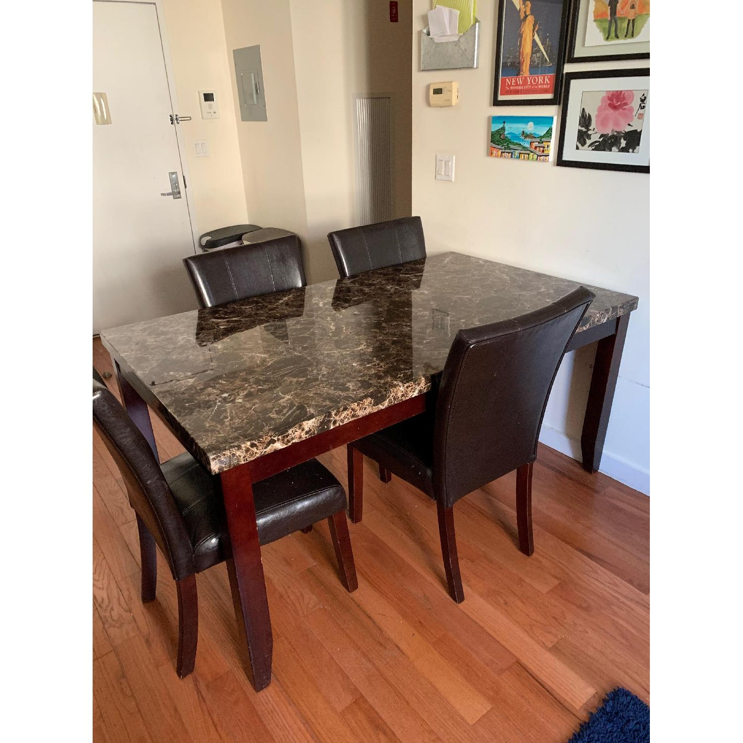 ... Marbleized Laminate And Wood Dining Table W/ 4 Chairs 2