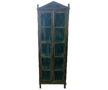 Antique Indian Green Wood Bookshelf