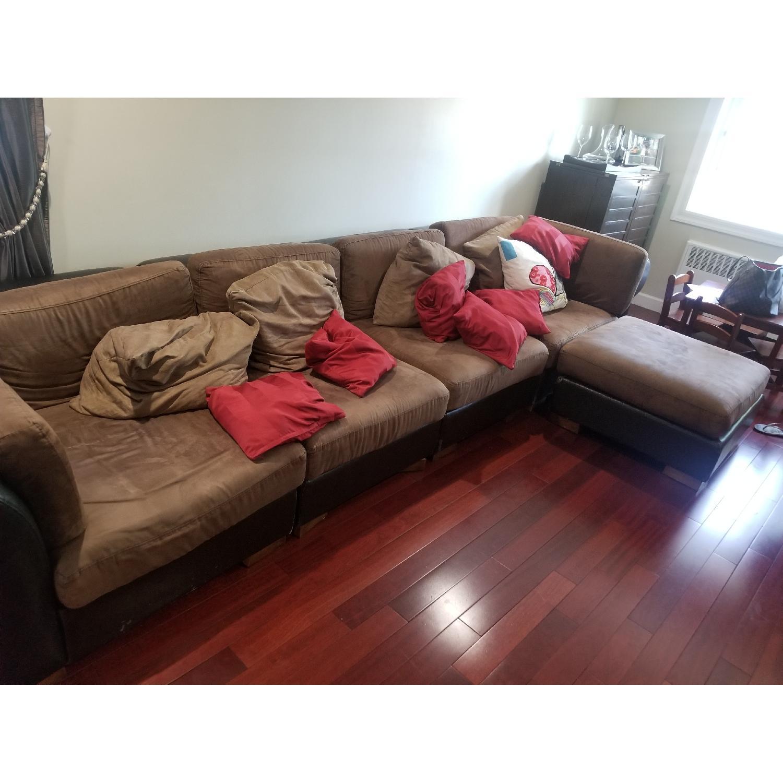 Brown 5 Piece Sectional Sofa - AptDeco