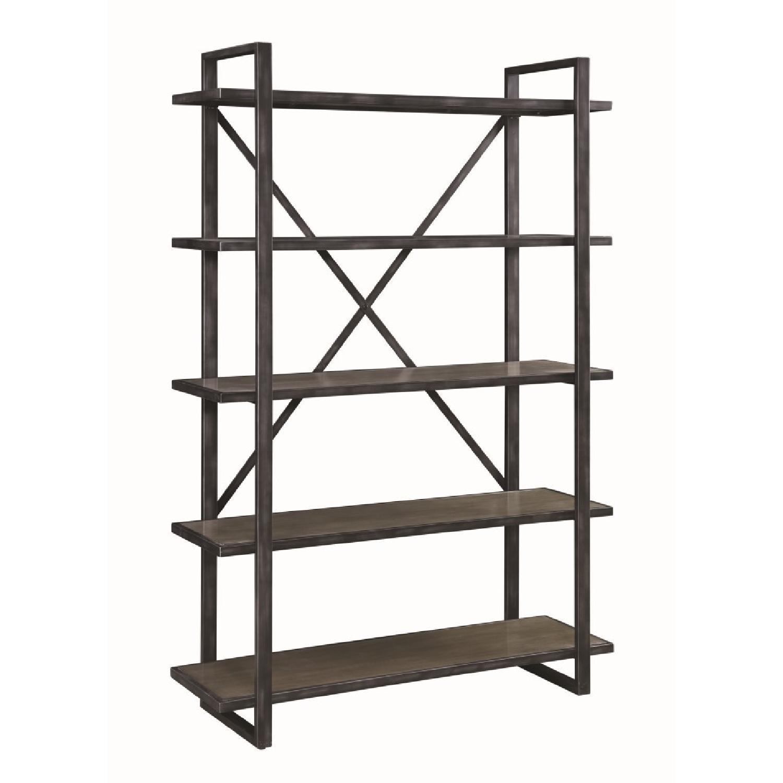 5-Shelves Bookcase in Weathered Elm w/ Black Metal Frame
