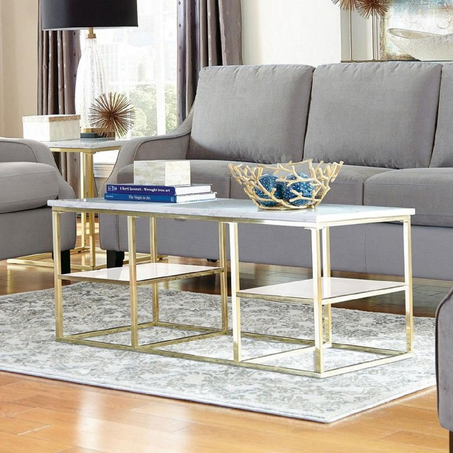 Modern White Marble Top Coffee Table w/ Brushed Brass Legs
