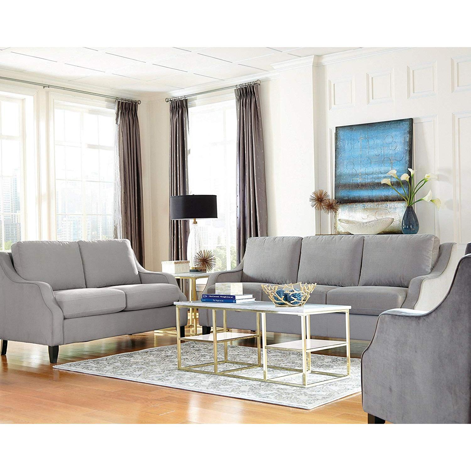 Modern White Marble Top Coffee Table w/ Brushed Brass Legs - image-3