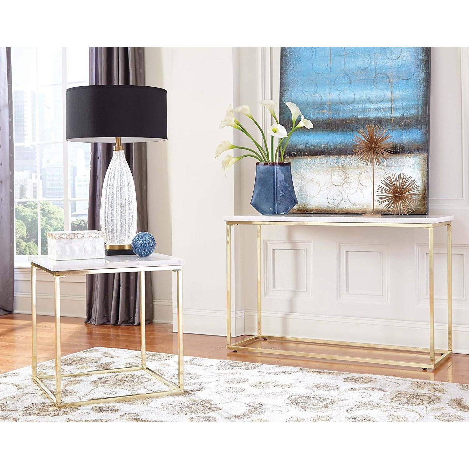 Modern White Marble Top Side Table w/ Brushed Brass Legs - image-2