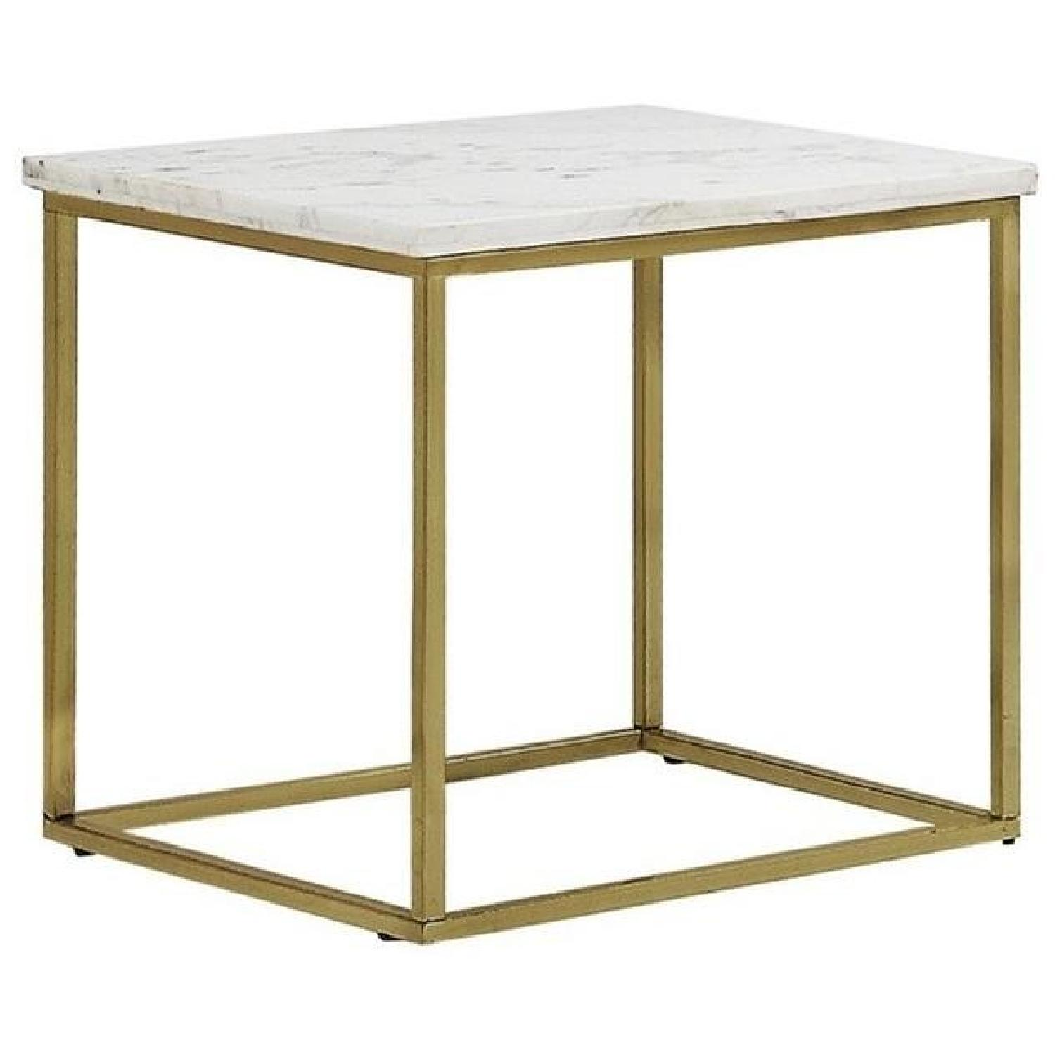 Modern White Marble Top Side Table w/ Brushed Brass Legs