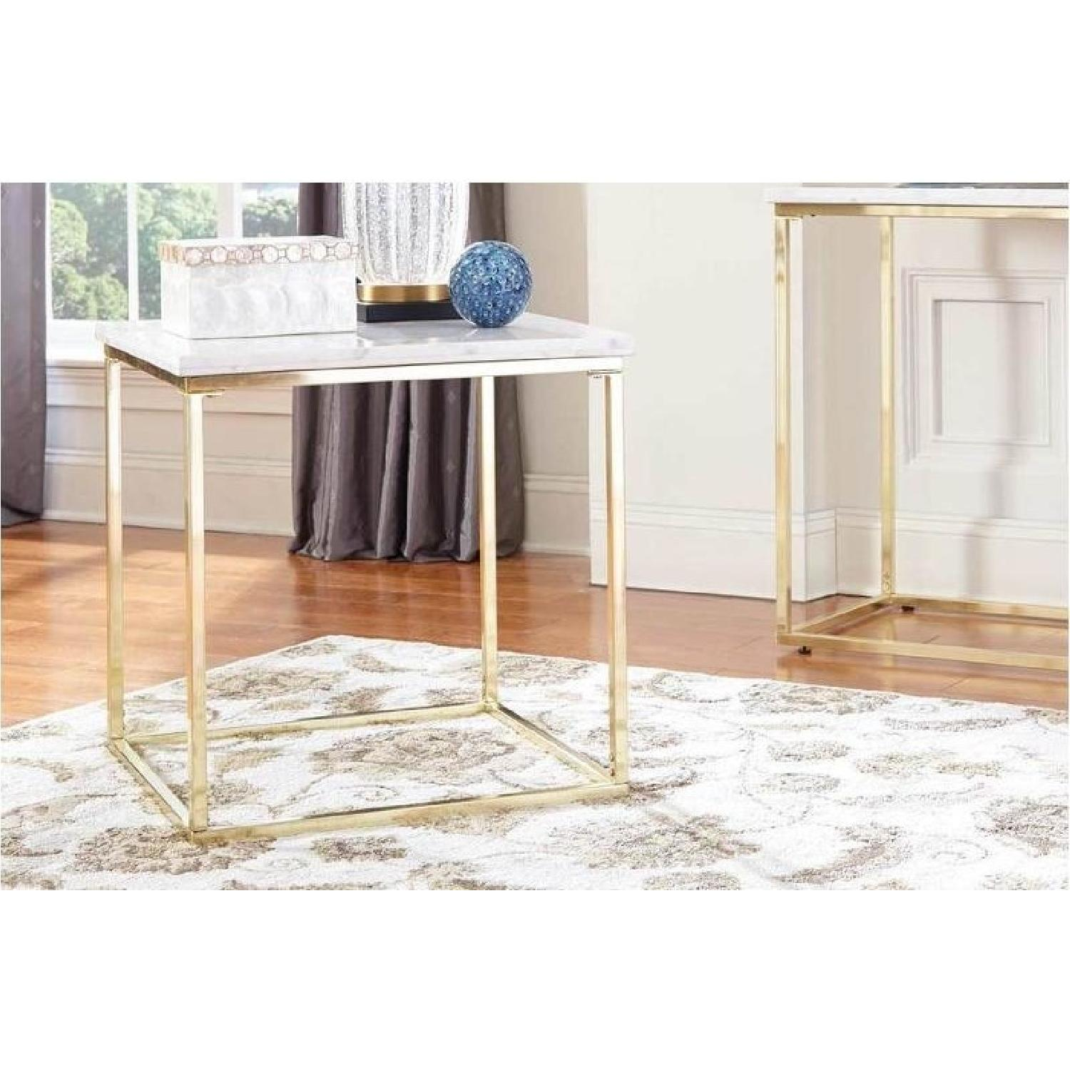 Modern White Marble Top Side Table w/ Brushed Brass Legs - image-3
