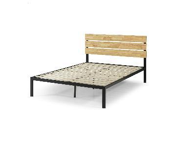 Zinus Paul Full Metal & Wood Platform Bed w/ Wood Slats