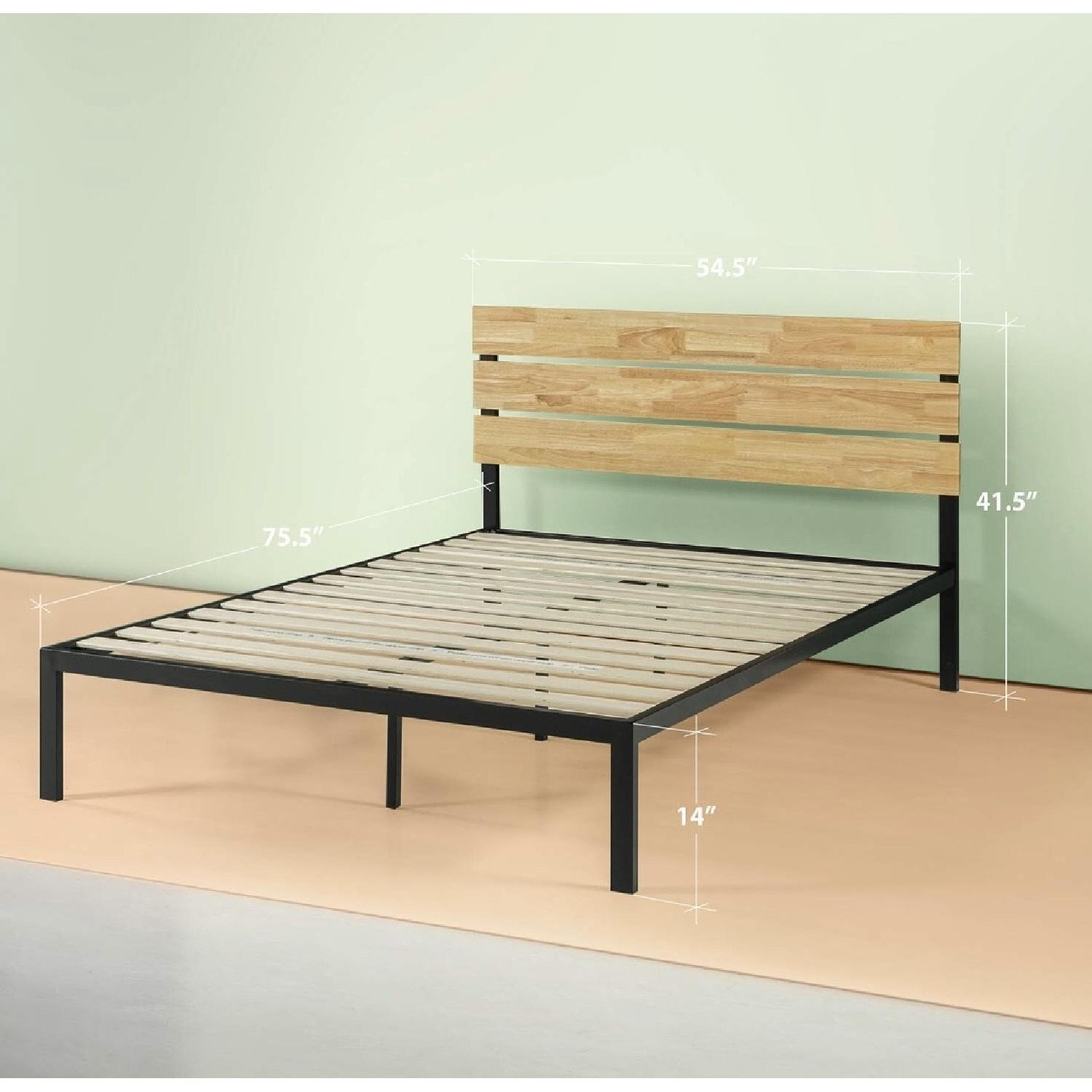 Zinus Paul Full Metal & Wood Platform Bed w/ Wood Slats
